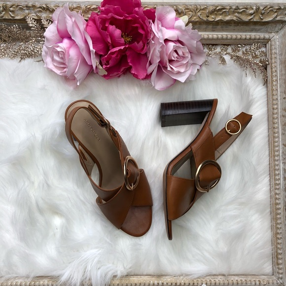 acc9935a6f Ann Taylor Shoes | Womens Brown Magda Lthr Buckle Block Heel Sandal ...